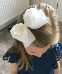 White-Large-Hairbow-Baby-Girls-Hair-Bows-Grosgrain-Ribbon-With-Clips-6-Inch