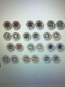Avon-Antiqued-Floral-Birthstone-Color-Pierced-Earrings-NIB-Pretty-Choose-Color