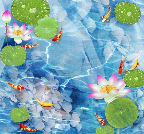 3D Eau Claire Fond d'écran étage Peint en Autocollant Murale Plafond Chambre Art