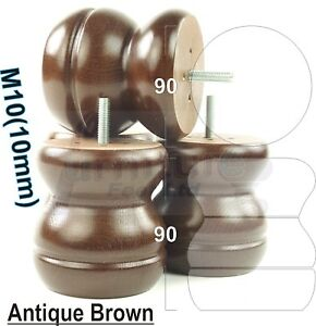 CHAIRS M10 SETTEES 10mm 4x WOODEN FEET ANTIQUE BROWN FURNITURE LEGS FOR SOFAS