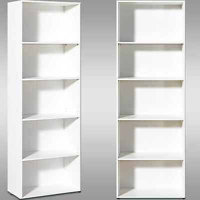 White Bookcase Shelf Tall Wooden Shelves Bookshelf Storage Shelving Display Unit