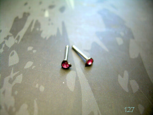 "1 PIECE 20g 1//4/"" Surgical Steel Nose Bone Heart 2.5MM Pink CZ Gem 127b"