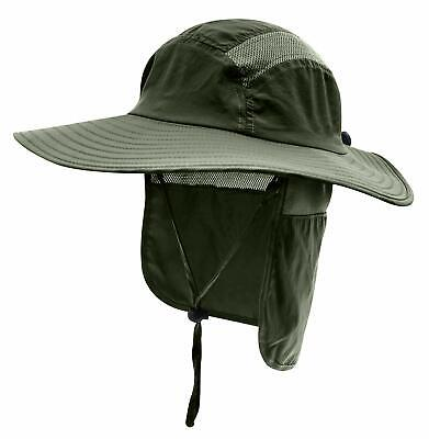 Sun Protection Cap Wide Brim Fishing Hat with Neck Flap Home Prefer Mens UPF 50