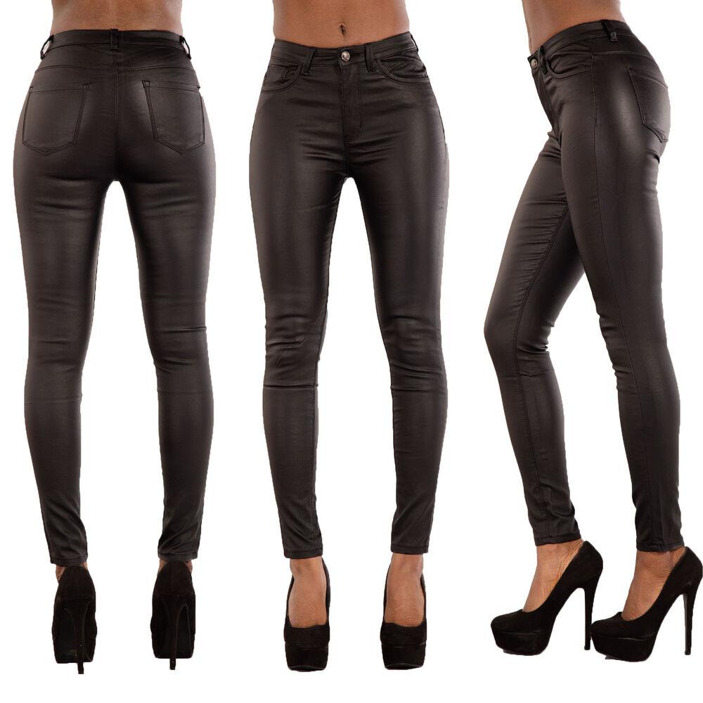 Initiative Femmes En Cuir Synthétique Pantalon Wet Look Skinny Slim Taille 8-16 Brillant En Couleur
