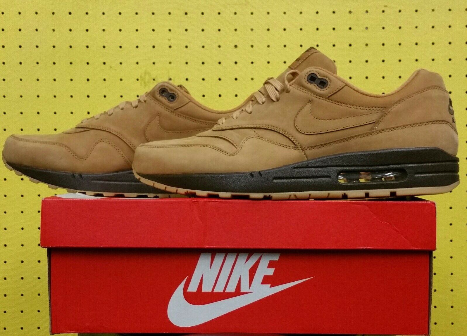 New Men's Nike Air Max 1 QS Shoes Sz 11.5 Flax Wheat Baroque Brown 704997 200 Special limited time