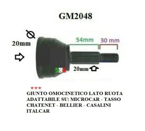 GIUNTO OMOCINETICO LATO RUOTA MICROCAR TASSO ITALCAR CHATENET JDM SIMPA GM2048
