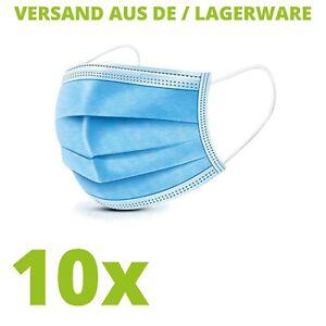 10x Einwegmaske Mundschutz 3-lagig Maske Gesichtsmaske Schutzmaske Atemschutz