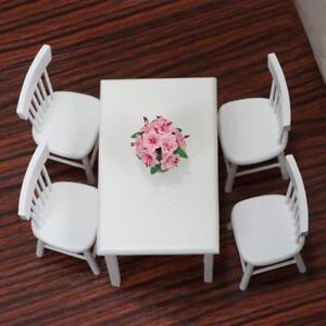 5x Weiß Holz Esstisch Stuhl Modell Set Für 112 Puppenhaus Möbel