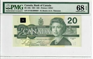 Canada-20-Dollars-Banknote-1991-BC-58b-PMG-Superb-GEM-UNC-68-EPQ