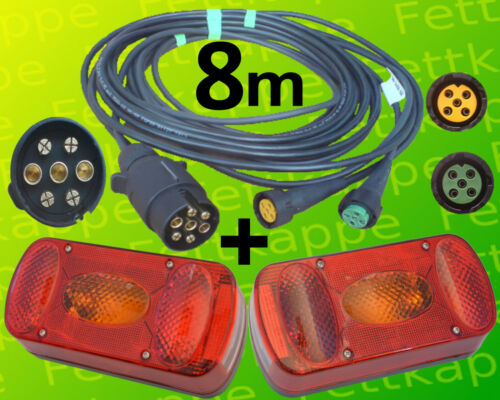 Rücklichter 8,0 m Kabelsatz Aspöck Midipoint 2 Anhänger Rückleuchten mit 7pol