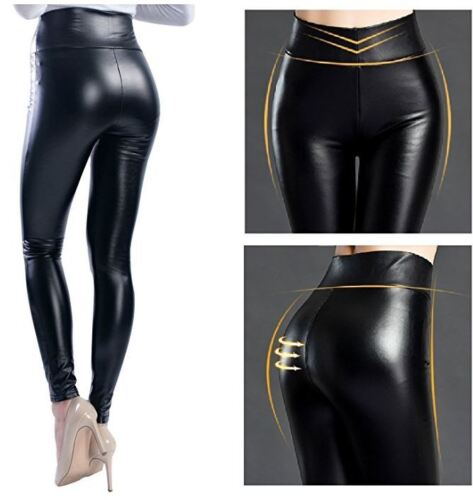 SexyLadies Wet Look PU Leather Leggings Fleece Stretch Pants Party Club Trousers