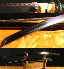 "41""DAMASCUS FOLDED STEEL CLAY TEMPERED BLACK RED JAPANESE SAMURAI SWORD KATANA"