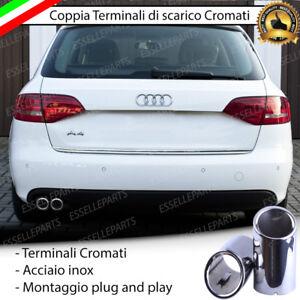 COPPIA-TERMINALI-DI-SCARICO-PER-MARMITTA-FINALINO-CROMATO-INOX-AUDI-A4-AVANT