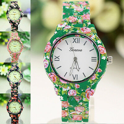 Women's Fashion Geneva Flower Print Plastic Style Analog Quartz Wrist Watch