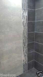 Metallic Shimmer Matt Grey Porcelain Kitchen/Bathroom Wall ...