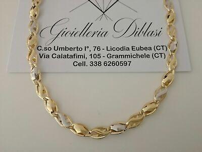 COLLANA Collier ORO Bicolore GIALLO e BIANCO 18 KT 750/% SEMIRIGIDA Made In Italy