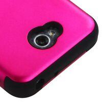 For Lg Optimus L70 Phone Pink Black Tuff Rubberized Skin Hybrid Cover Case