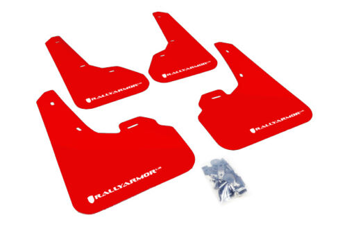 Rally Armor Red Mud Flap w// White Logo For 10-13 Mazda3//Speed3