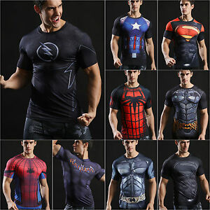 Mens Marvel Superhero Compression T Shirt Running Sports Fitness Tops Spiderman