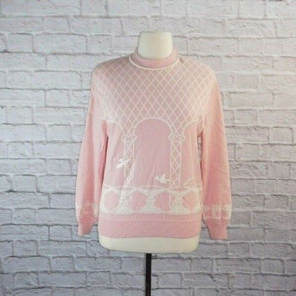 St John Collection Pink White Bird Santana Knit Sweater Large