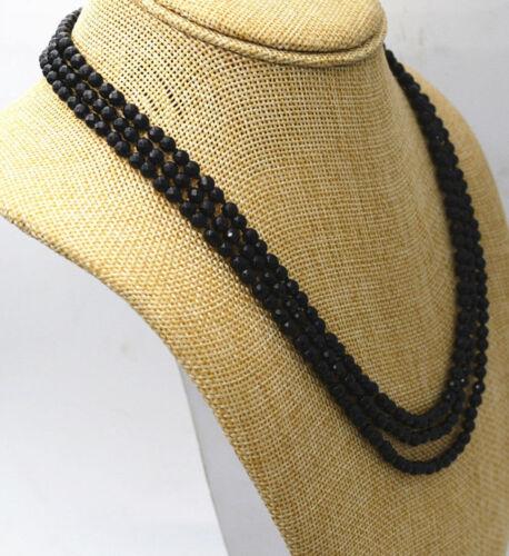 """Fashion Jewelry 3 Rangées à facettes 4 mm Naturel Noir Onyx Perles Collier 17-19 /""""AAA"""