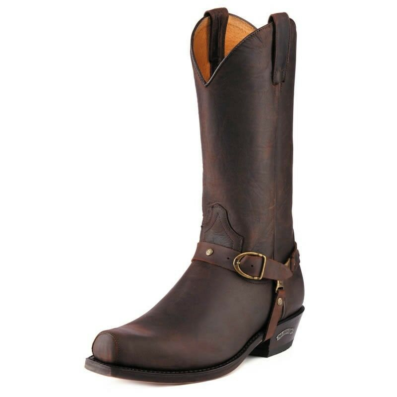 Sendra 3091 Man Cowboy Boots Brown Chocolate Leather Western Biker Handmade
