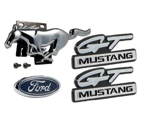 1994-95 Mustang 5.0 GT 4pc Emblem Set; Grille Horse w Bracket Fenders /& Trunk