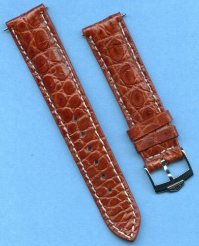 PRE TAG HEUER BUCKLE & 20mm GENUINE CROCODILE STRAP BAND LEATHER LINED L. BROWN