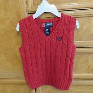 4161b3404257 infant Boys Chaps Ralph Lauren Red V neck sweater vest size 18M NWT ...