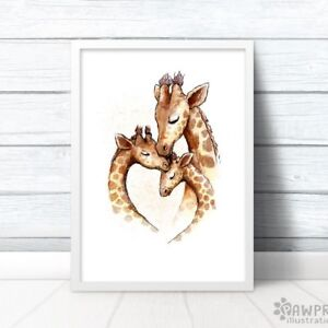 Family Of 3 Giraffe Nursery Art Print