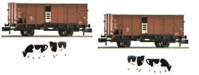 Fleischuomon DB G10 Cattle Wagons with Cow Load Set 2 III N Gauge FM881804