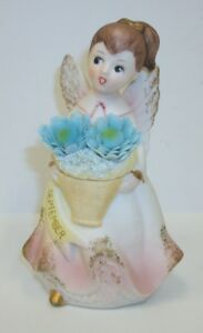 Vintage-Ardco-Porcelain-September-Birthday-Girl-Angel-with-Applied-Flowers