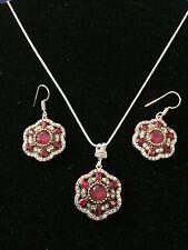 925 Sterling Silver Red Garnet CZ Jewelry Set Necklace & Earrings