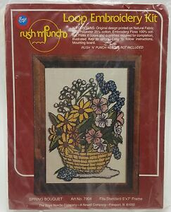 Loop-Embroidery-Kit-Spring-Bouquet-Flowers-5x7-New-7904-Vintage