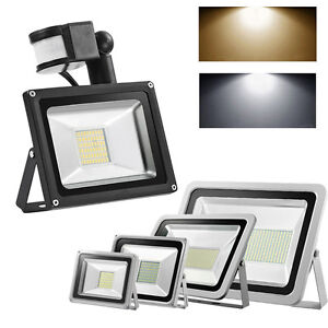 LED Floodlight PIR 10/20/30/50/100W High Power SMD Outdoor Garden Security Light