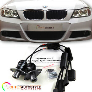 20W CREE LED Marker Angel Eyes BMW 3 Series E90 E91 LCI With Halogen HeadLight