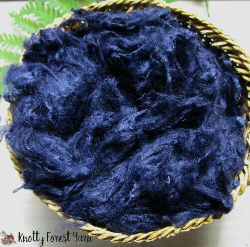 2 OUNCES Dark Blue VISCOSE Rayon USA Loose Fiber Spinning Dolls Vegan Crafts