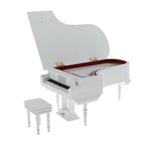 1:6 Scale Simulation Miniature Piano with Stool Musical Instrument for Dolls #2