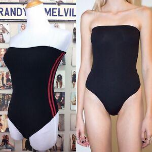 Black Side Stripes Thong Bodysuit