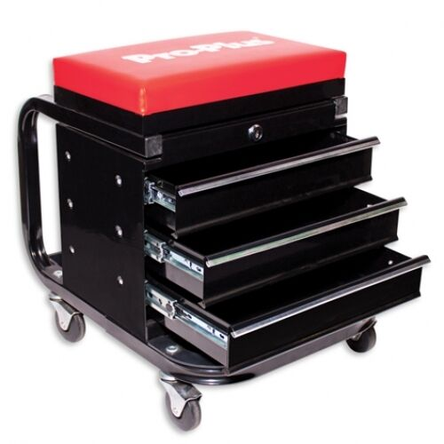 Mechanics Seat with 3 Drawer Locking Tool Box Workshop Chest Trolley
