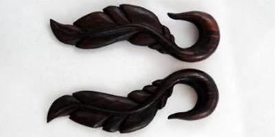 Earring Pair Wood Horn Floral Ear Plug Gauge Hand Made Black White Organic Hook