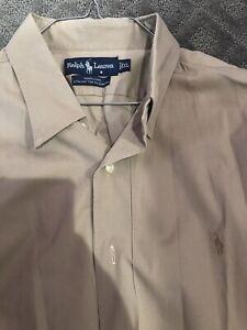 Mens-Polo-Ralph-Lauren-Marlowe-Cotton-XL-Smooth-Solid-Khaki-Striped-Dress-Shirt