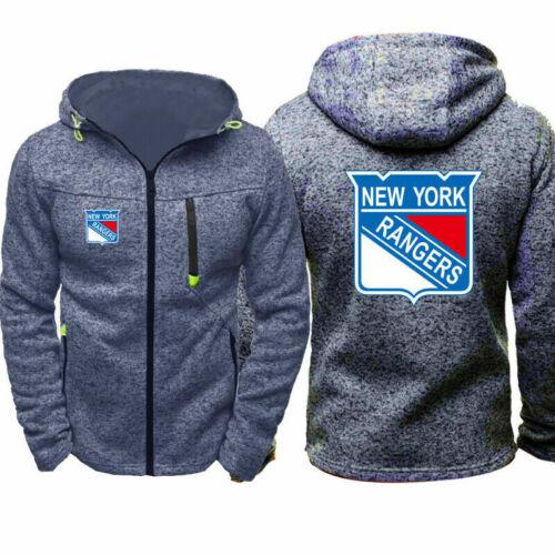 New York Rangers Warm Hoodie Hooded Fans Jacket Sweatshirt Full-zip Sporty Coat