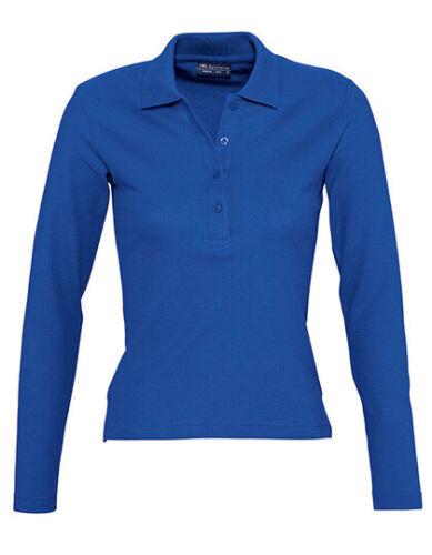 Damen Langarm Polo Shirt Poloshirt Hemd Pique Material Tailliert