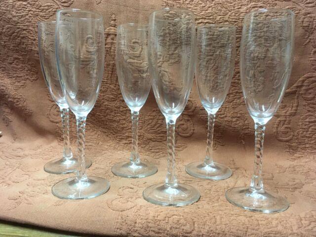 """7 Vintage Wine Glasses Twisted Stem Spiral 8 1/4"""" Excellent"""