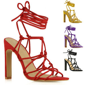 4c38bea5ce2a Womens Lace Up Block High Heel Sandals Ladies Faux Suede Party Prom ...