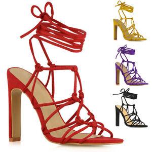 Bloque-de-Encaje-para-Mujer-Sandalias-De-Tacon-Alto-Zapatos-De-Las-Senoras-Imitacion-Gamuza-Fiesta
