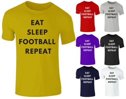 NUOVO Ragazze Bambini Ragazzi EAT Sleep Football Ripetere Divertente Fan Regalo T-shirt Top 3-14