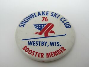 Snowflake Ski Club Pin Button 1976 Westby Wisconsin Booster Member