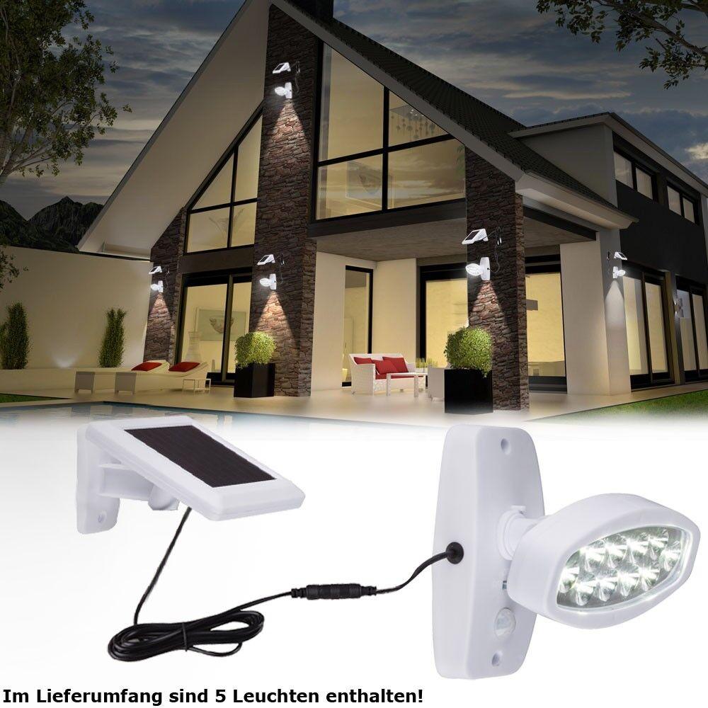 5 x LED Lámpara De Parojo Spot Luz Spotlight apagado sensor de iluminación de jardín solar del tribunal